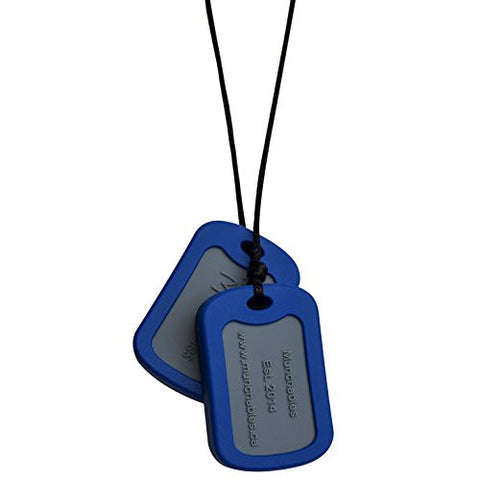 Munchables Chewelry Dog Tags - Chew Necklace for Sensory, Oral Motor, SPD, Autism (Navy)