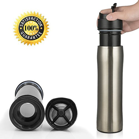 BRBHOM Portable French Press with Separation Filtration System, Flexible Coffee Maker Bottle,Travel Mug Tumber 350ML 12OZ (Silver)