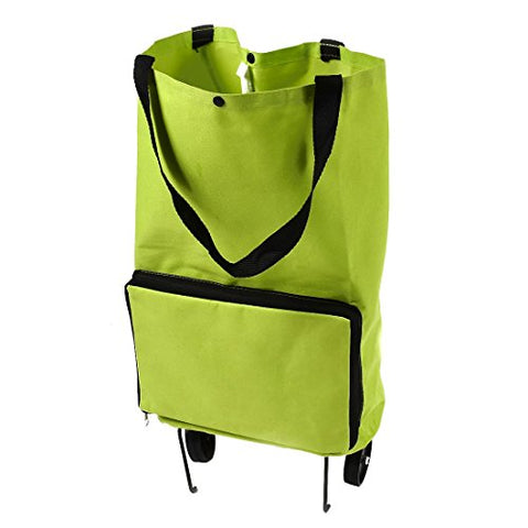 uxcell Polyester Handy Foldable Bag Wheel Cart Shopping Trolley Green