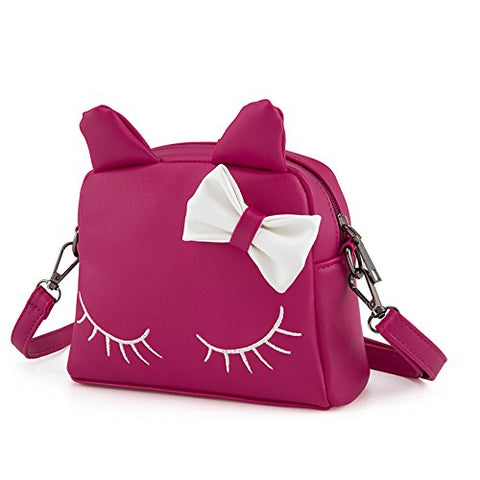 Pinky Family Cute Cat Ear Kids Handbags PU Leather Crossbody Bags and Backpacks (Rosy)