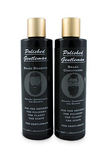 Polished Gentleman Beard Growth and Thickening Shampoo and Conditioner, 8 oz