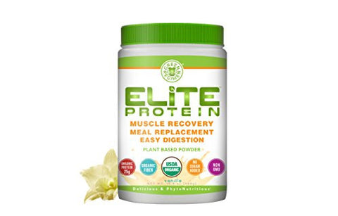 Elite Protein - Organic Plant Based Protein Powder, Vanilla, Pea and Hemp Protein, Muscle Recovery and Meal Replacement Protein Shake, USDA Organic, Non-GMO, Dairy-Free, 1.24 pounds
