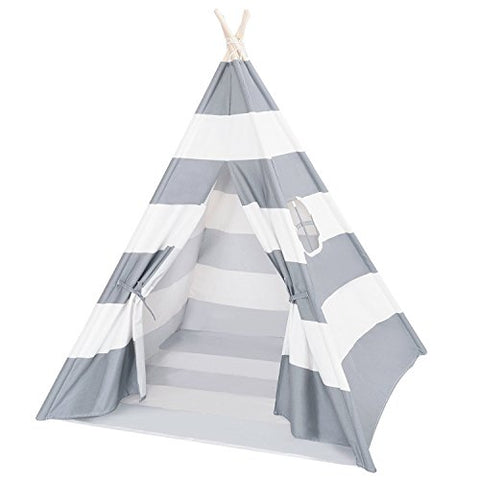 DalosDream Teepee Tent For Kids-100% Natural Cotton Canvas Children Tent-Grey Striped