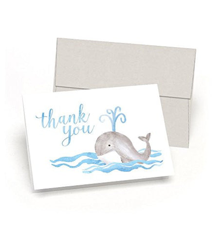 Whale Thank You! Baby Shower Thank You Cards (Set of 10 Cards + Envelopes) - Watercolor Baby Whale - By Palmer Street Press (Blue)