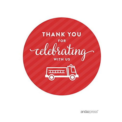 Andaz Press Birthday Round Circle Labels Stickers, Thank You for Celebrating With Us, Firetruck, 40-Pack, For Gifts and Party Favors