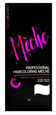 Colortrak Professional Reusable Hair Coloring Meche Sheets, Standard 5 x 12 (100 Count)