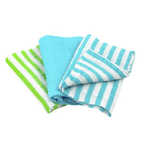 green sprouts Muslin Multi-Purpose Cloths made from Organic Cotton ,Aqua Set