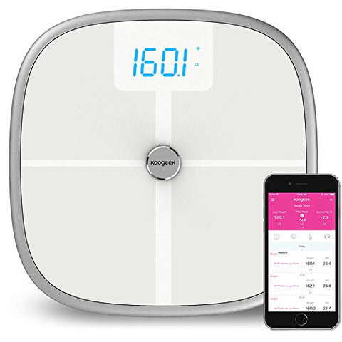Koogeek Bluetooth Wifi Smart Scale,8 Body Statistics Measurement, 16 Users Recognition, Baby Weighing on 2.4G Network