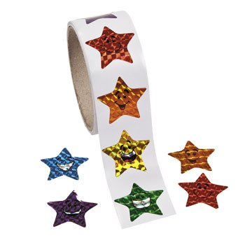 1 Roll ~ Laser Smile Face Star Stickers ~ 100 Stickers ~ Approx. 1.5 ~ New / Shrink-wrapped