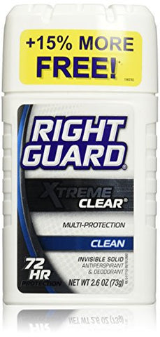 Right Guard Xtreme Clear Clean Invisible Solid Antiperspirant & Deodorant, 2.6 Oz.