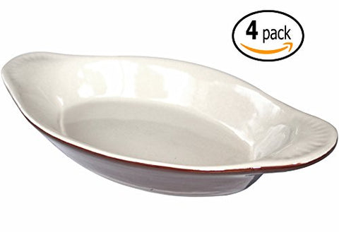 Ceramic Oval Rarebit / Au Gratin Baking Dish with Dish-pan Scraper, 12 Ounce, Set of 4, Brown and Bone White