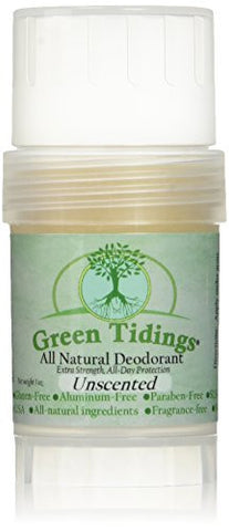 Green Tidings Organic All Natural Deodorant, Unscented, 1 Ounce
