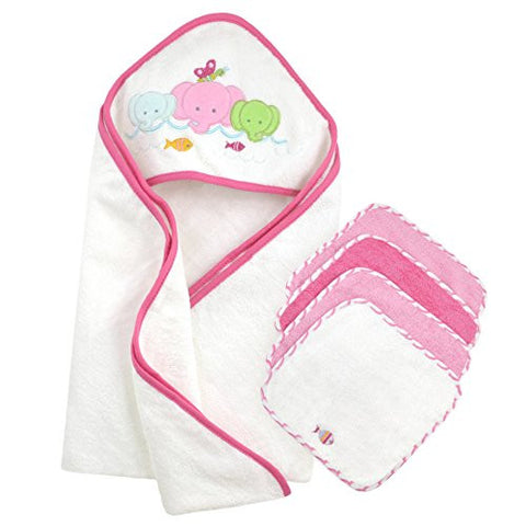 Just Born Just Bath Love to Bathe Knit 5-Piece Hooded Towel and Washcloth Set, Elephant