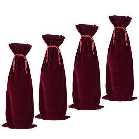 BCP 4-pieces 14x 5.5 Luxury Flannelette Wine Bottle Gift Bags with Double Drawstring Closure for Champagne Wedding Party