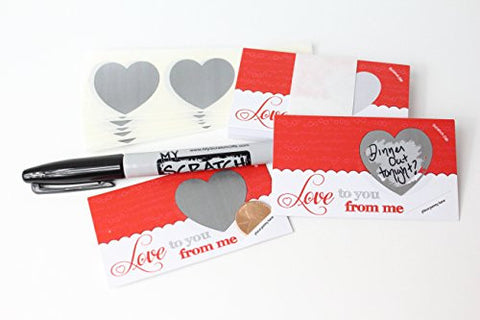 LoveNotes, Love Coupons, DIY Love Notes Scratch-Off Mini Cards Kit, Create your own Love Messages, Write your own Romantic Vouchers, Scratch Off Heart, (25 cards) My Scratch Offs