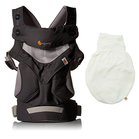 Ergobaby 360 All Carry Positions Award-Winning Cool Mesh Ergonomic Baby Carrier (Carbon Grey PLUS Swaddler Natural , S/M)