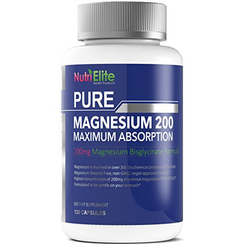 Magnesium Glycinate Supplement - Medical Certified - Non Buffered Chelate As Bisglycinate - 120 Capsules - Sleep And Vitamin Deficiency Support - 200 mg or 400 mg Daily