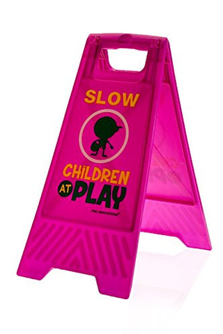 Children at Play Caution Sign (Double-Sided, Purple) - Slow, Children at Play