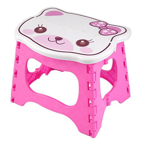 Kids Step Stool 9 inch width by 8 inch tall, Fold able easy to carry. Teddy face on top to add color & fun! (Pink)