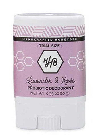Handcrafted HoneyBee - Natural / Aluminum Free Probiotic Deodorant (Lavender Rose) (Travel-Size (Single))