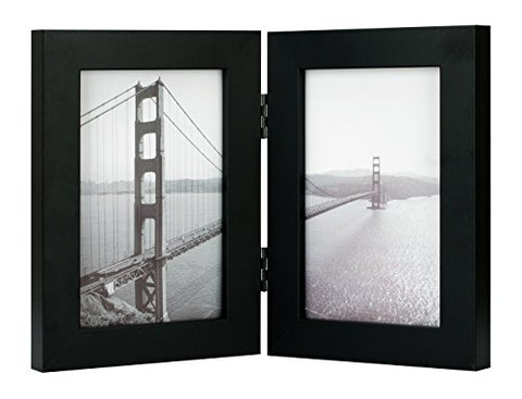 Frametory, 4x6 Inch Hinged Picture Frame with Glass Front - Made to Display Two 4x6 Inch Pictures, Stands Vertically on Desktop or Table Top (Double, Black)