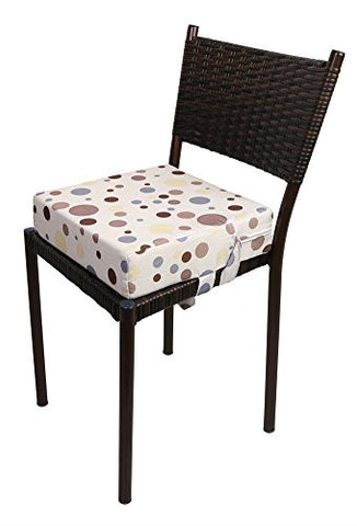Zicac Portable Dots Booster Seat with Pockets Hight Chair Cushion Pad for Toddlers (Coffee)
