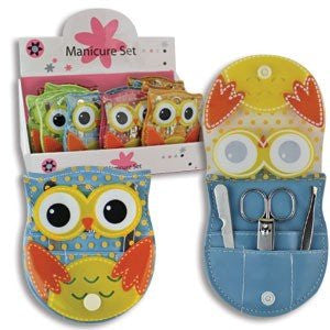 4½ INCH OWL MANICURE SETS (1 Set) Assorted Colors - No Color Chose/ Accessories/Travel