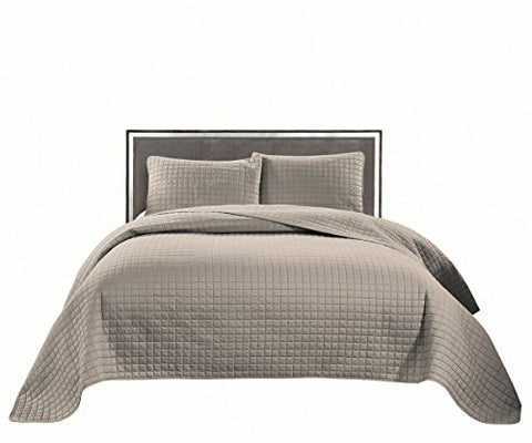 Jackson Hole Home PREWASHED 3 PC Solid Color Soft Pattern Coverlet Quilt Set, Khaki, King