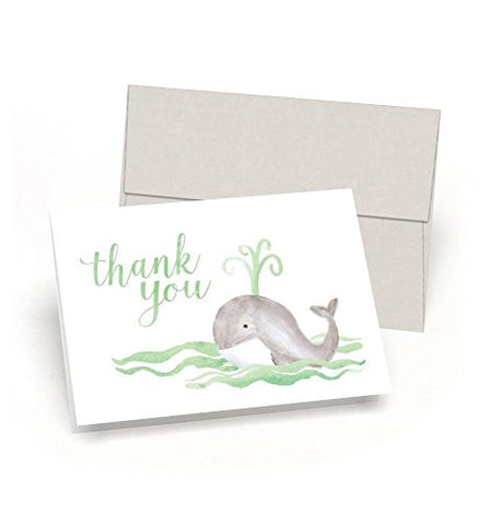 Whale Thank You! Baby Shower Thank You Cards (Set of 10 Cards + Envelopes) - Watercolor Baby Whale - By Palmer Street Press (Green)