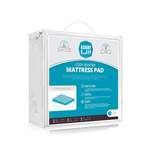 Quilted Fitted WATERPROOF Mattress Pad Cover - Topper, Stretches up to 18 Inches Deep, Hypoallergenic, Queen Size, by Assure Sleep by Lcozee