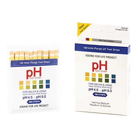 Iodine For Life Dual Pad PH Test Strips (4.5-9.0) PH Testing For Saliva, Urine, Water and Non Viscous Liquids. Thyroid, Breast, and Immune System Support.