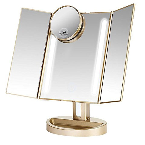 LEJU Makeup Mirror / Natural Daylight Lighted Vanity Mirror with Touch Screen Dimming, Detachable 10X Magnification Spot Mirror, Two Power Supply Mode (Gold)