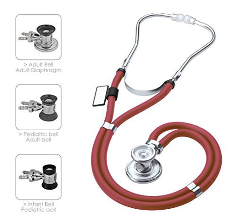 MDF Sprague Rappaport Dual Head Stethoscope with Adult, Pediatric, and Infant convertible chestpiece - Burgundy (MDF767-17)