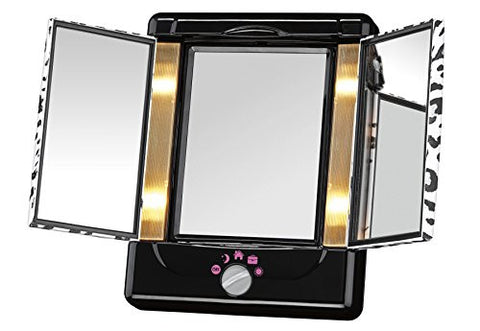 Conair Two-Sided Lighted Makeup Mirror with 3 Panels and 4 Light Settings; Cheetah