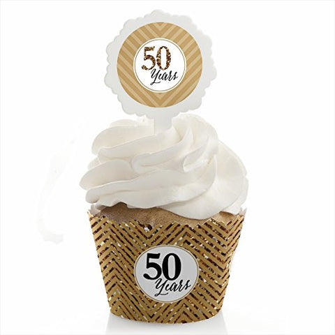 We Still Do - 50th Wedding Anniversary - Cupcake Wrapper & Pick Party Kit - Set of 24