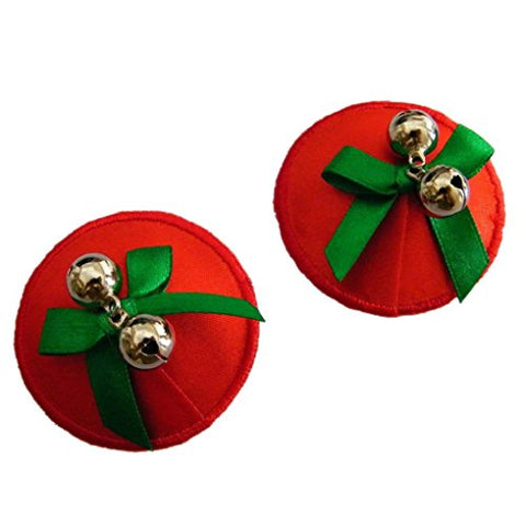 Gold/Red Valentine/Christmas/Holidays Nipple Covers with bells -Wedding/Valentine/Birthday (Red and Green)