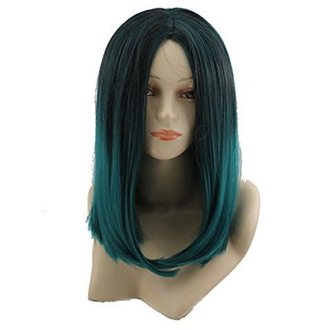 17.7 45CM Women Girls Black with Green Medium Length Straight Wig Heat Resistant 2 Tone Hair Wig Cosplay Wigs