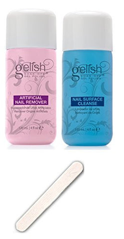 NEW Gelish Soak Off Gel Nail Polish Remover & Cleanser Bottles 120mL + Nail File