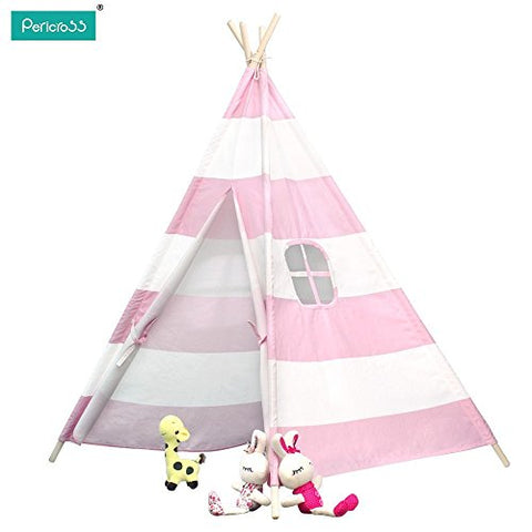 Pericross Kids Teepee Tent Indian Play Tent Children's Teepee Tent (Pink Stripes)