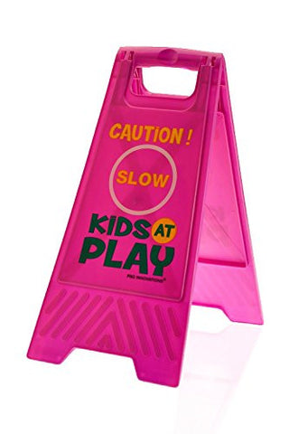 Kids Playing Floor Safety Sign (Double-Sided, Purple) - Caution, Slow, Kids at Play