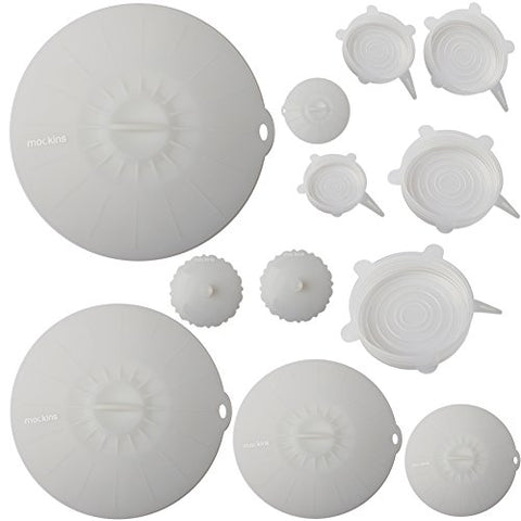 Mockins Silicone Covers | 7 Silicone Stretch Lids & 5 Suction Lids | The Reuseable Silicone Huggers are Expandable To Fit Various Unique Shapes & Sizes To Keep Your Food Fresh & Tasty - Clear