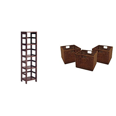 Winsome Wood 4-Shelf Narrow Shelving Unit, Espresso + Winsome Wood Small Wired Rattan Baskets, Set of 3_Bundle