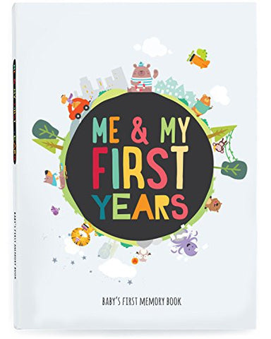 Me & My First Years Baby Memory Book - Animals. Personalised album for photos, pictures & development. Perfect Baby Shower Gift. (White)