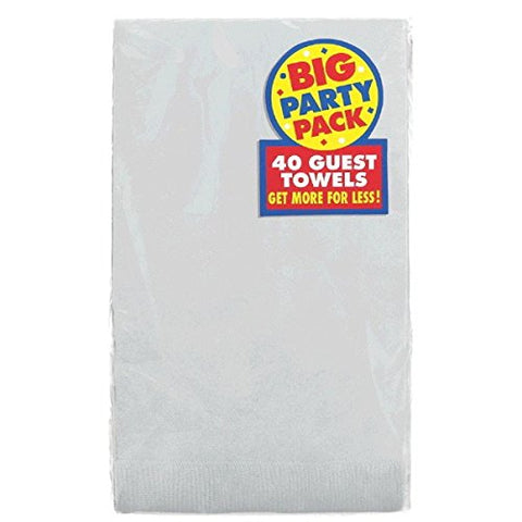 Party Perfect Big Party Pack Solid Color Guest Towel Tableware, Silver, Paper , 4  X 7