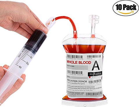 Blood Bag for Drinks, Kyerivs Reusable Blood Bag with Syringe for Halloween Zombie Party Christmas Carnival Theme Parties Novelty Item