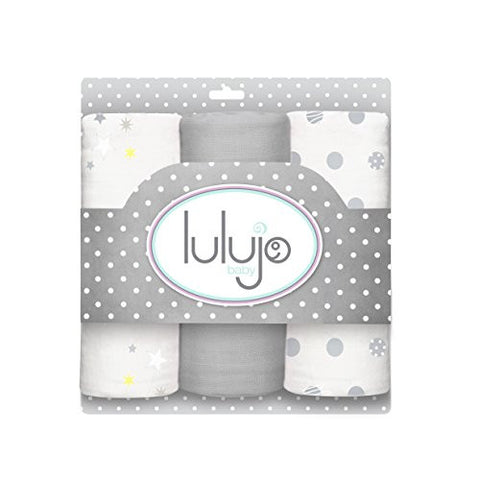Lulujo Baby Muslin Cloths, Calming Grey, Mini, 3 Count
