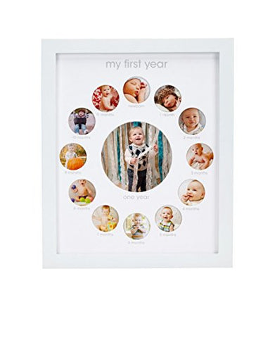 Pearhead My First Year Monthly Photo Baby Keepsake Frame, White
