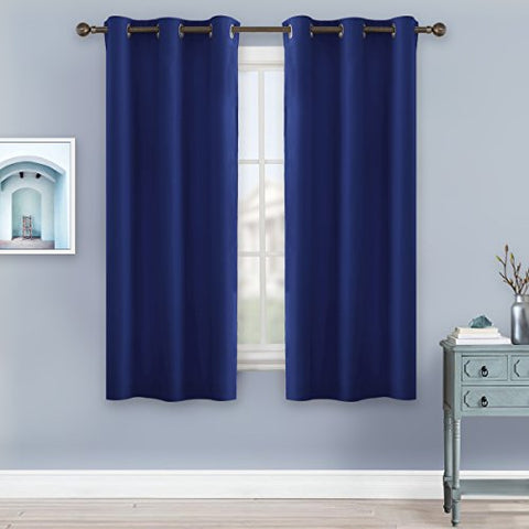 Bedroom Blackout Drapery and Curtain Panels - NICETOWN All Season Thermal Insulated Solid Grommet Top Blackout Drapes for Kid's Room (1 Pair, 42 x 63 Inch In Navy Blue)