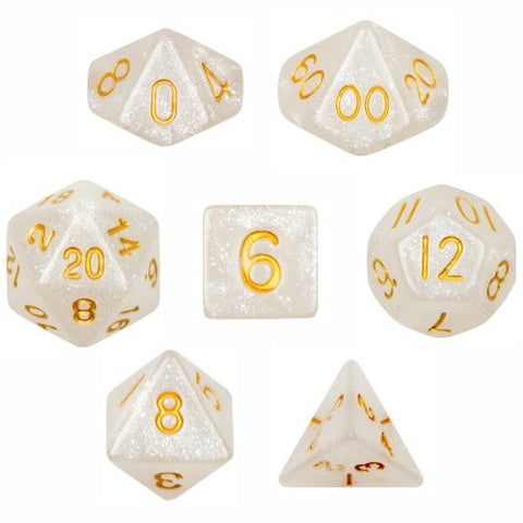 7 Die Polyhedral Dice Set - Forbidden Treasure (White Sparkle) with Velvet Pouch By Wiz Dice