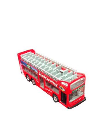 Die Cast Metal 6 NYC Sightseeing City Tour Red Double Bus Pull Back Action
